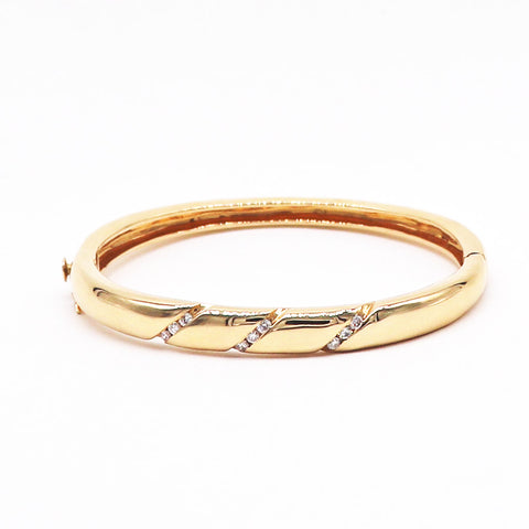 Estate Diamond Bangle Bracelet In 14K Yellow Gold