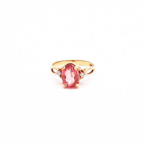 Estate Peach Tourmaline and Diamond Yellow Gold Ring