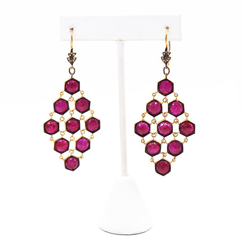Estate Ruby and Diamond Yellow Gold Dangle Earrings - Silverscape Designs