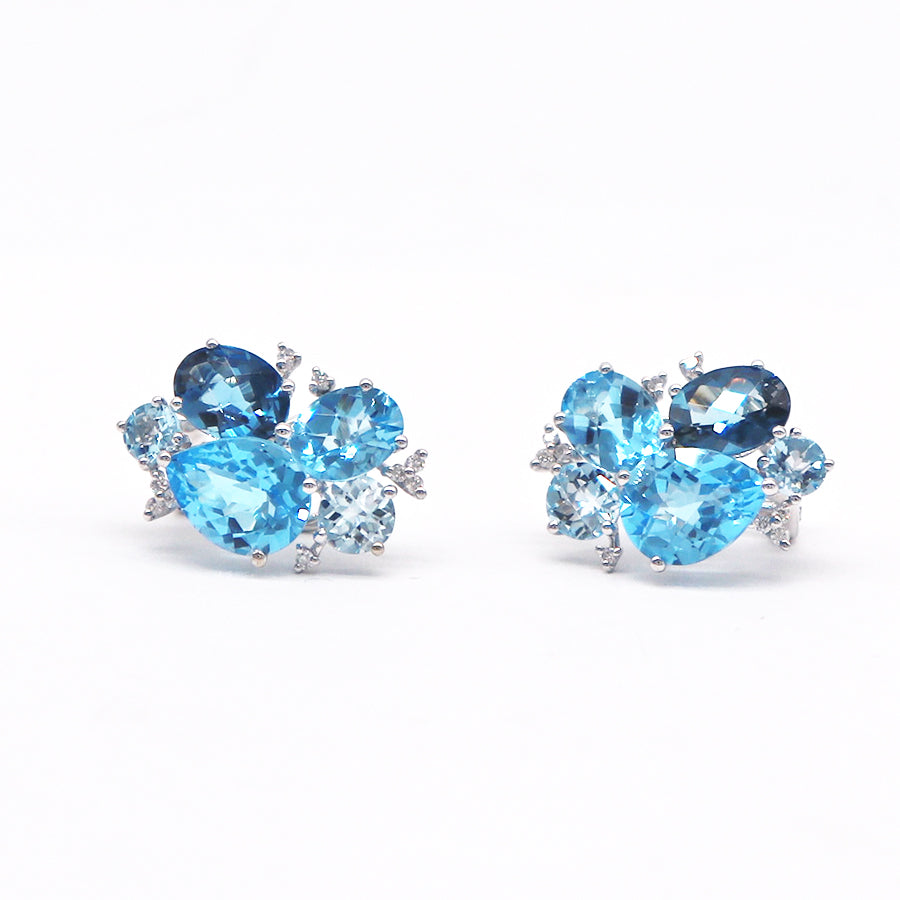 Pejay Creations Multi-Stone Cluster Stud Earrings - Silverscape Designs