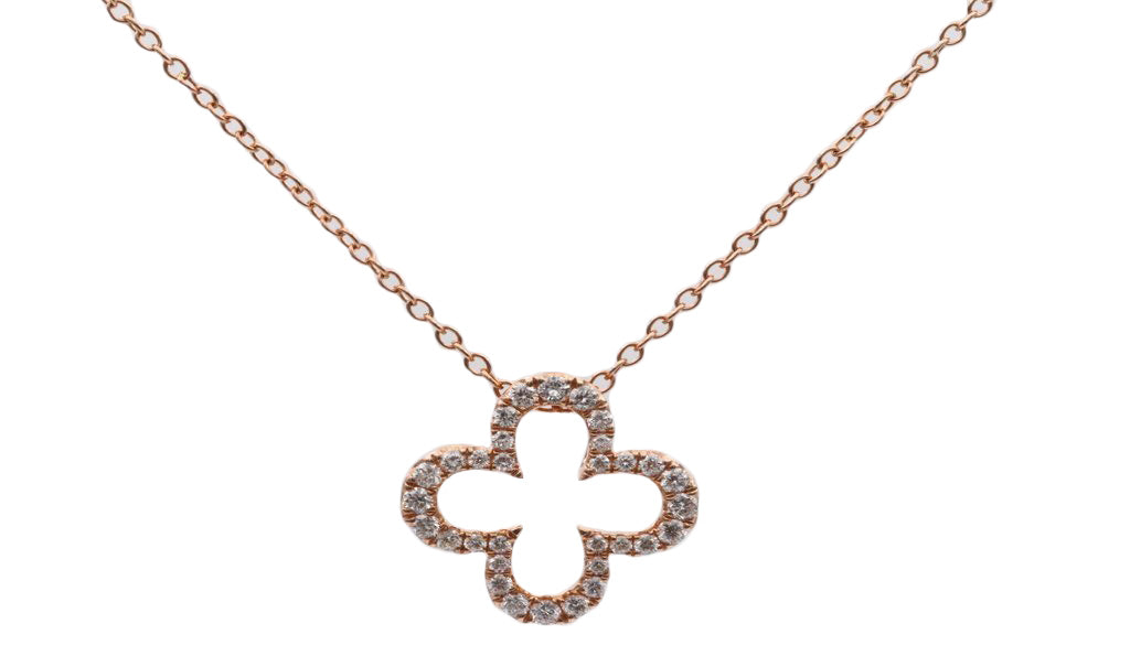 Rose Gold Diamond Alhambra Necklace