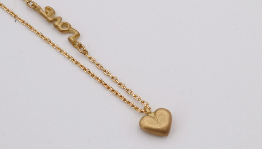 "Small Gold Heart ""Love"" Necklace - Silverscape Designs"