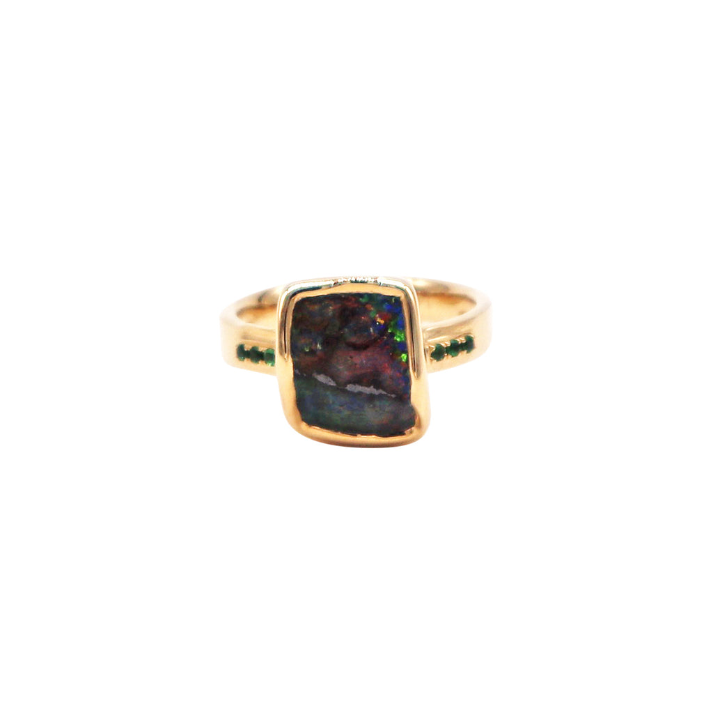 Boulder Opal and Tsavorite Garnet Yellow Gold Ring - Silverscape Designs