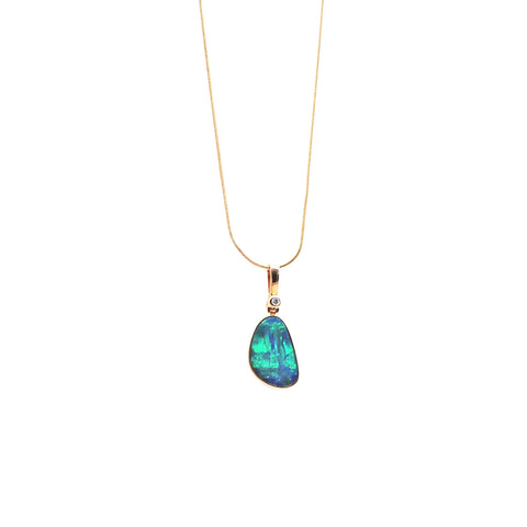 Blue Green Opal and Pave Diamond Yellow Gold Pendant