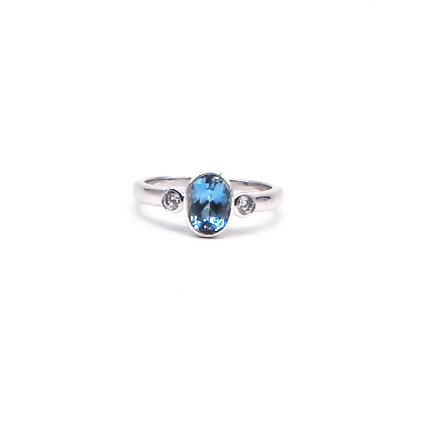 Aquamarine and Diamond White Gold Ring - Silverscape Designs