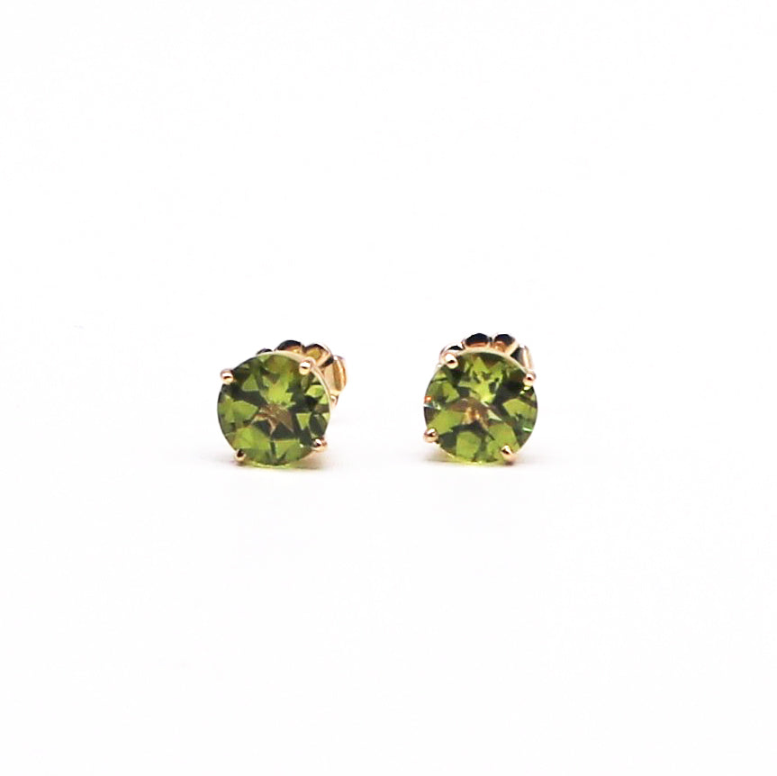 Peridot Yellow Gold Stud Earrings