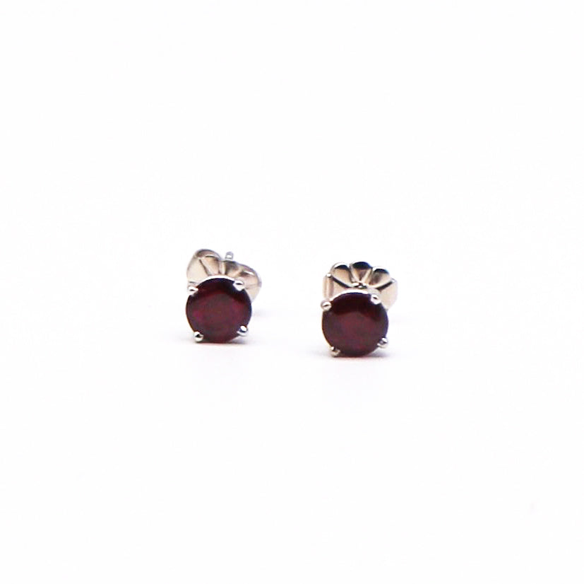Round Ruby and White Gold Stud Earrings