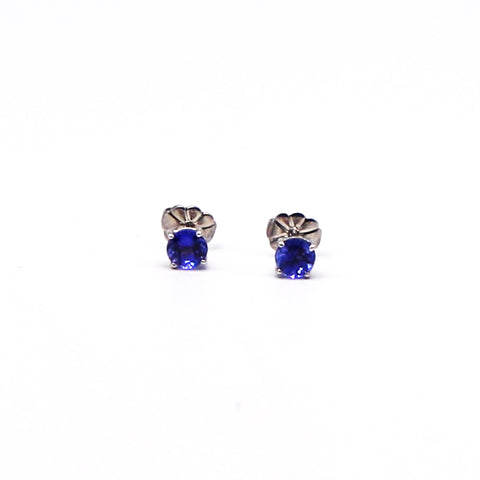 Round Tanzanite White Gold Stud Earrings