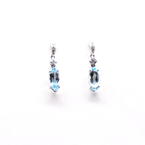 Aquamarine and Diamond White Gold Dangle Earrings - Silverscape Designs