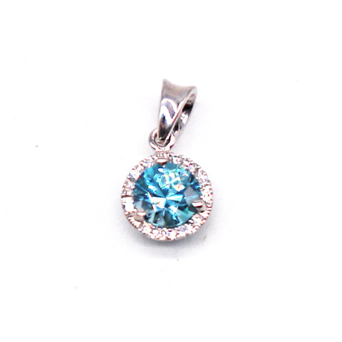 Blue Zircon Diamond Halo White Gold Pendant
