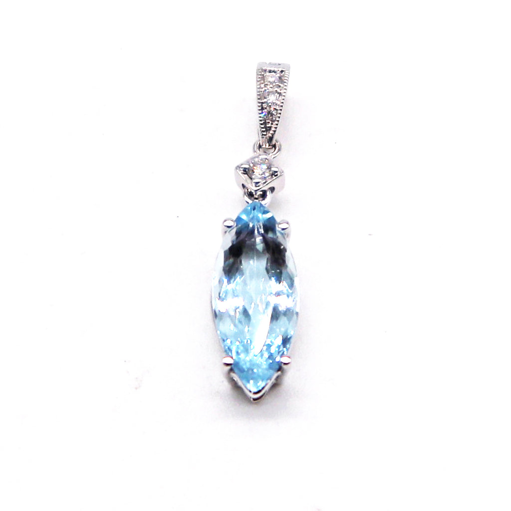 Aquamarine and Diamond White Gold Pendant - Silverscape Designs