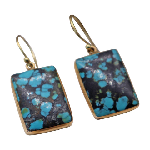 Vintage Turquoise Slab Earrings