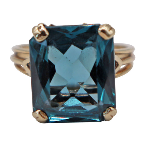 Vintage Yellow Gold Statement Ring with Blue Gemstone Center Stone