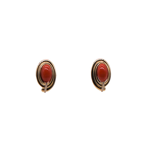 Red Coral and Diamond 18k Yellow Gold Stud Earrings