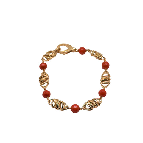 Yellow Gold and Red Coral Link Bracelet - Silverscape Designs
