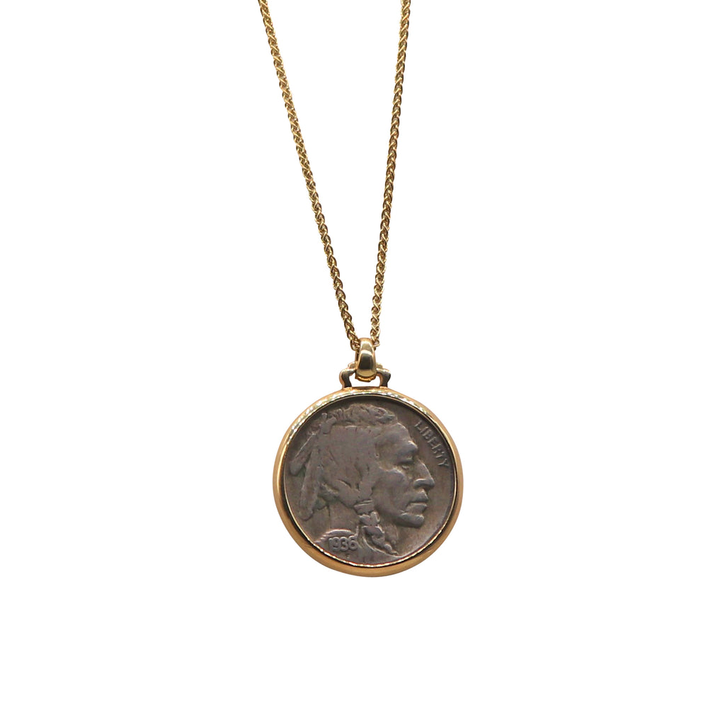 Yellow Gold Bezel Set 1936 Indian/Buffalo Nickel Necklace - Silverscape Designs