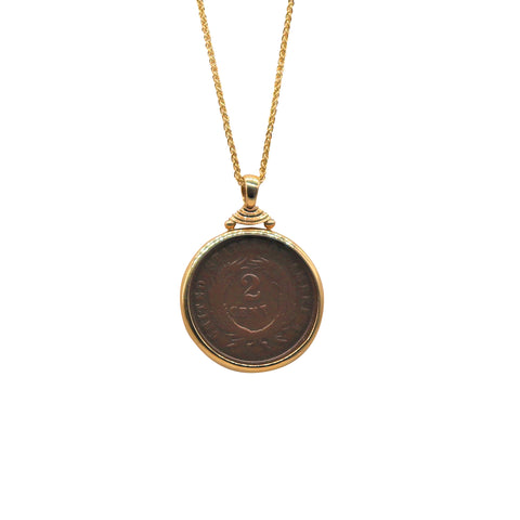 Yellow Gold Bezel Set 1864 2 Cent Penny Necklace - Silverscape Designs
