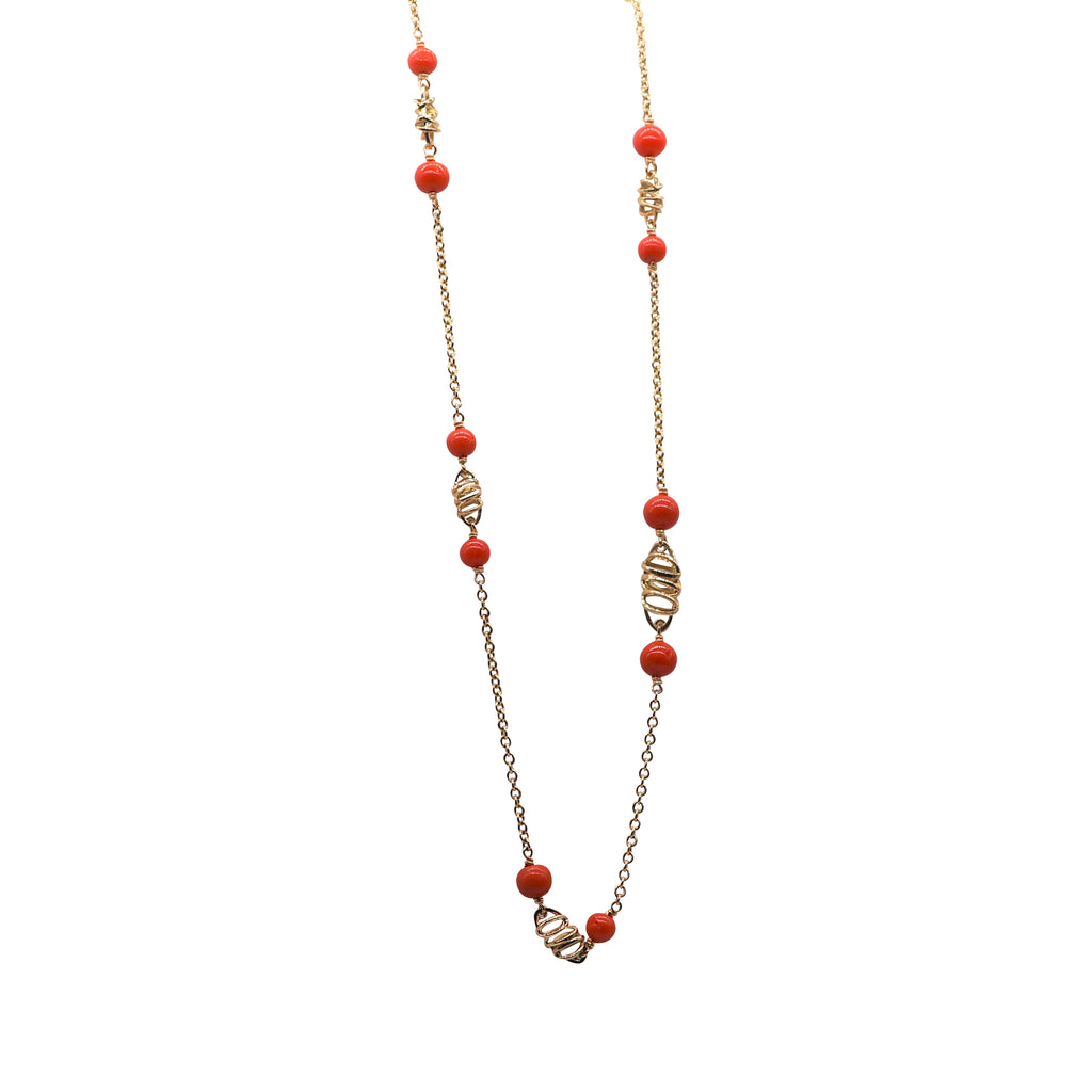 Yellow Gold and Red Coral Del Monaco Necklace - Silverscape Designs
