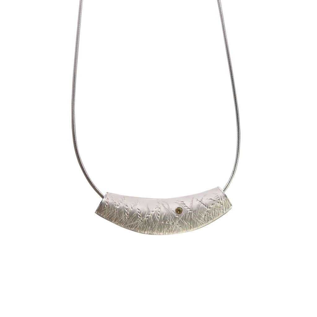 Fine Silver Diamond and Yellow Sapphire Meadow Grass Engraved Necklace - Silverscape Designs