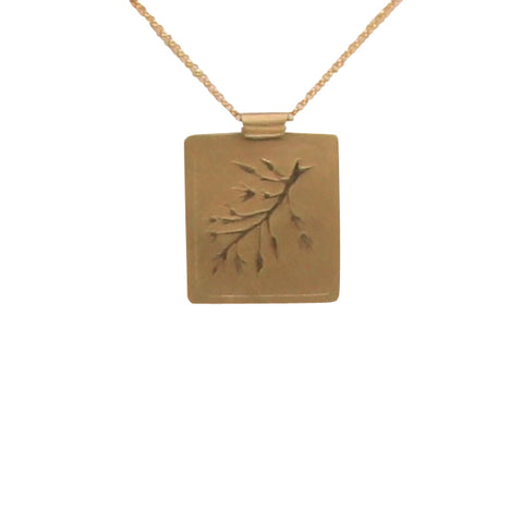 Constance Gildea 18k Yellow Gold Embossed Botanical Necklace