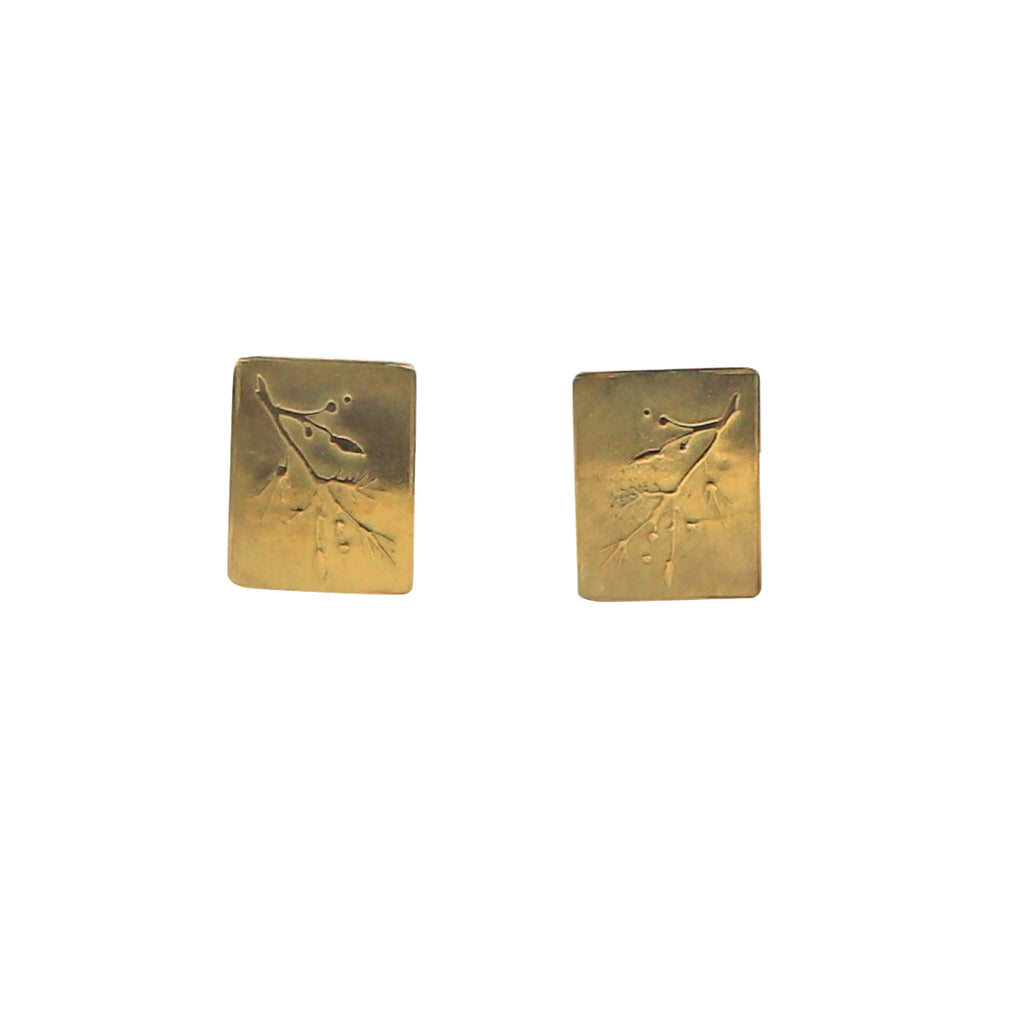 Yellow Gold Emossed Botanical Stud Earrings - Silverscape Designs