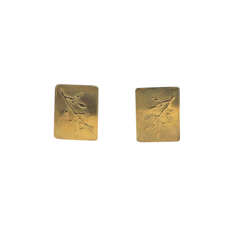 Constance Gildea 18k Yellow Gold Emossed Botanical Stud Earrings