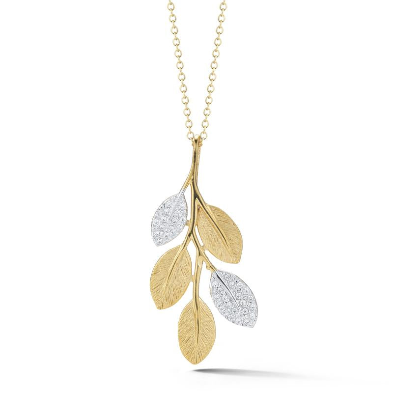 14 Karat Yellow Gold and Diamond Leaf Necklace