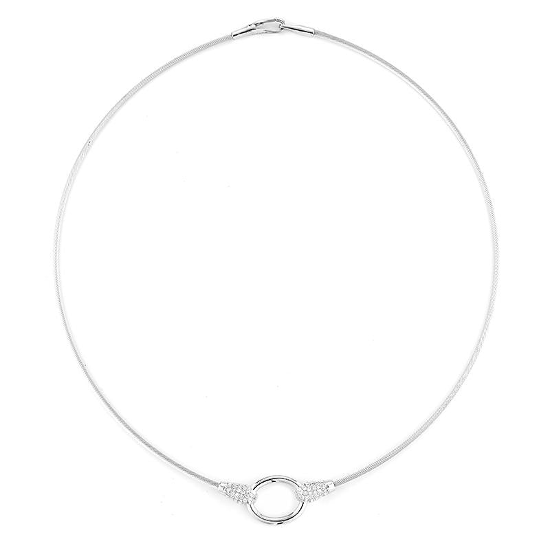 White Gold Oval Wire Necklace with Diamonds