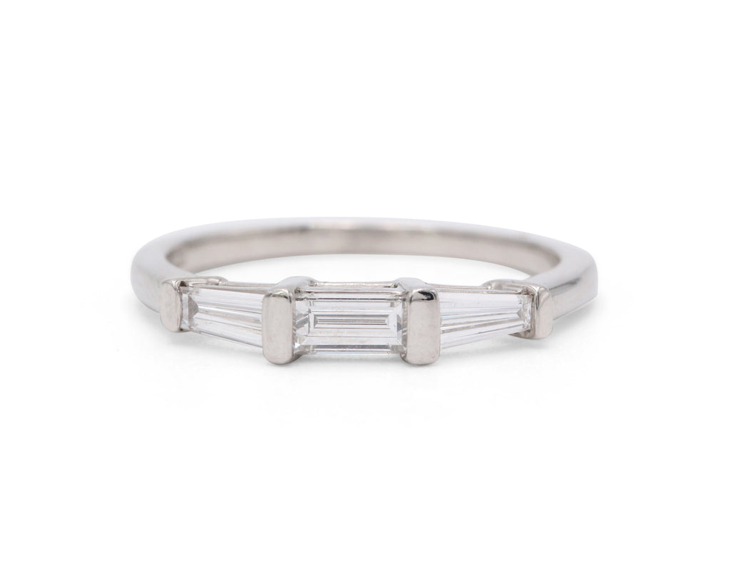 Heirloom Collection 3 Baguette Wedding Band - Silverscape Designs