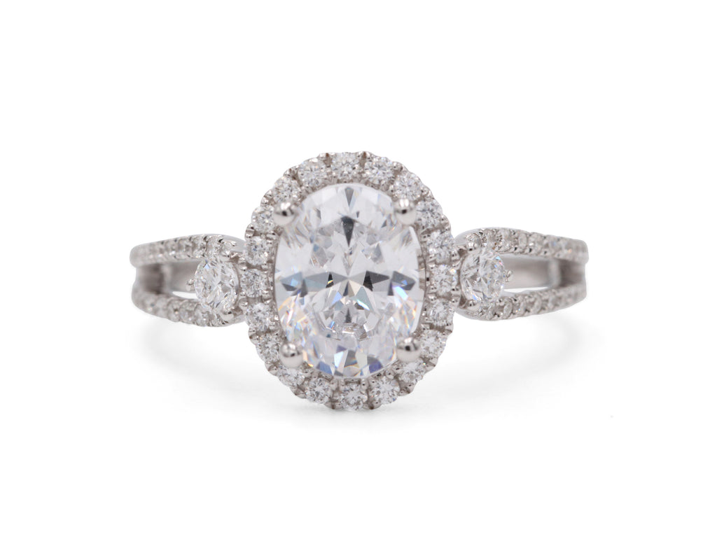 Pejay Creations Heirloom Collection Diamond Oval Halo .52TCW Side Diamonds 14k White Gold Engagement Ring