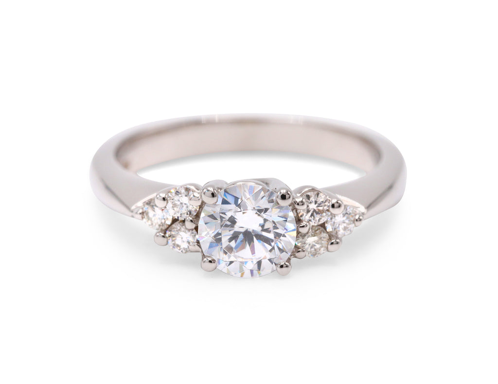 Cluster Side Diamond Engagement Ring - Silverscape Designs