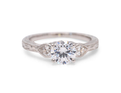 Classic Solitiare With Band Detailing Engagement Ring