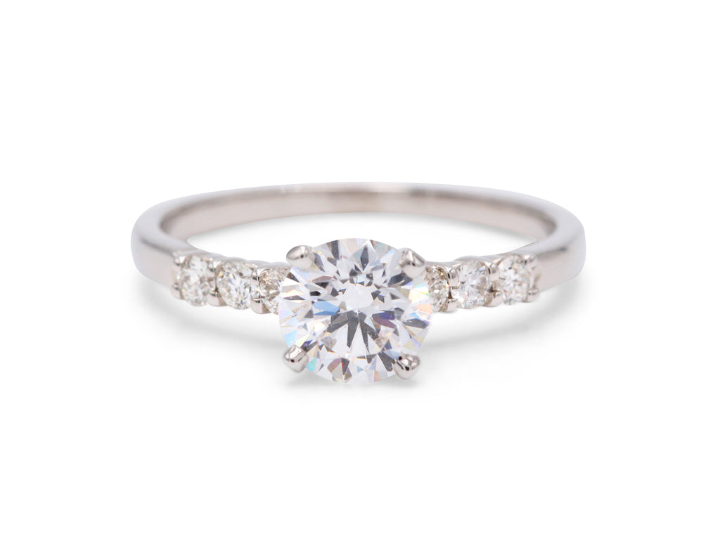 PeJay Creations Classic 14k White Gold Solitaire .21ctw Side Diamond Engagement Ring