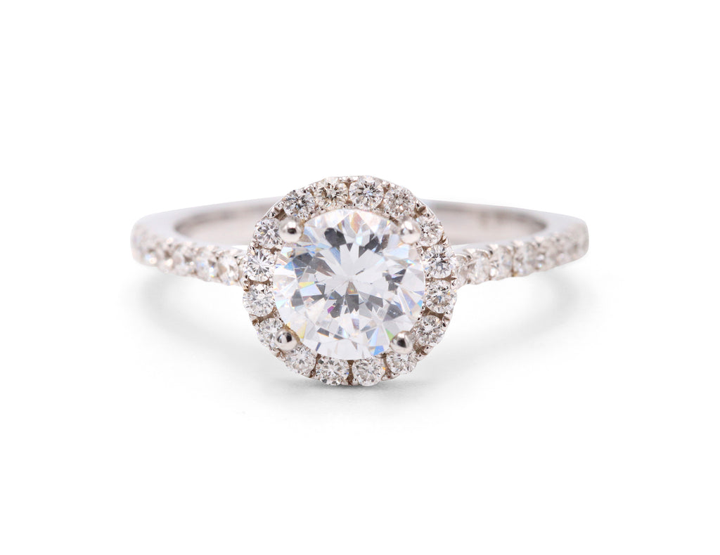 Halo with  Dainty Band Engagement Ring - Silverscape Designs