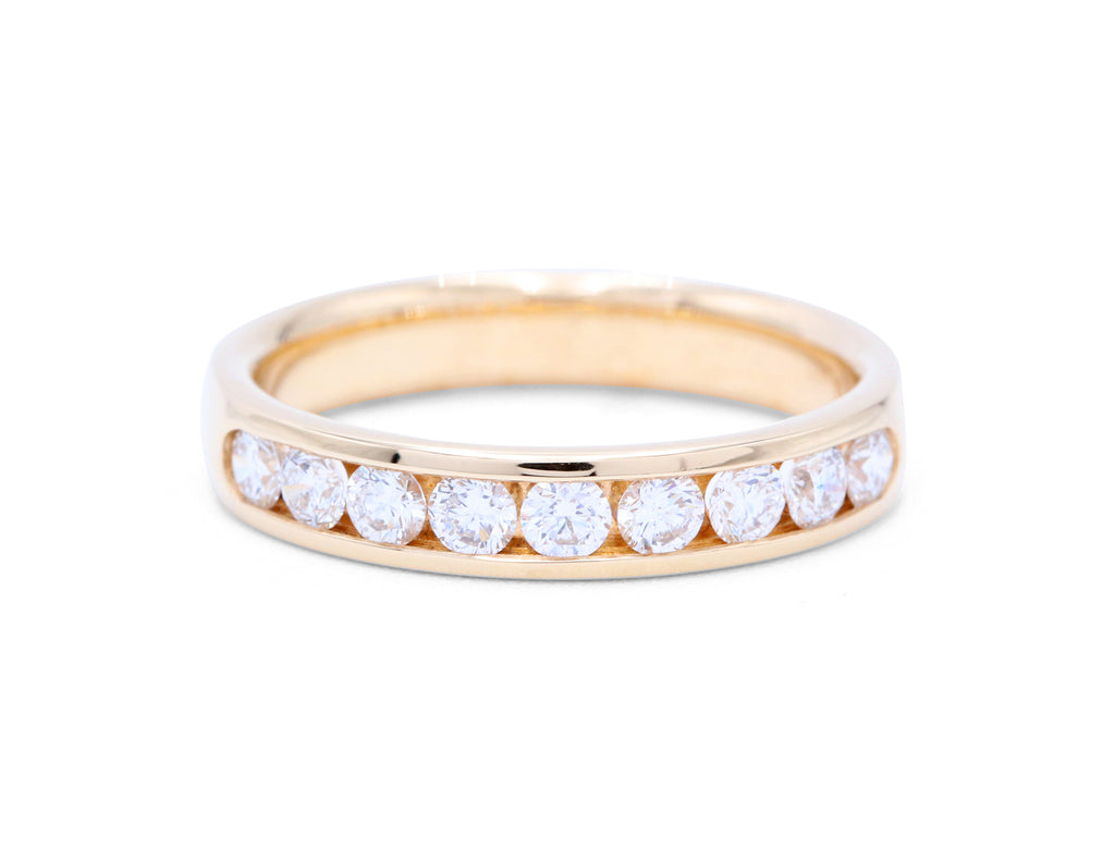 9 Diamonds Yellow Gold Wedding Band