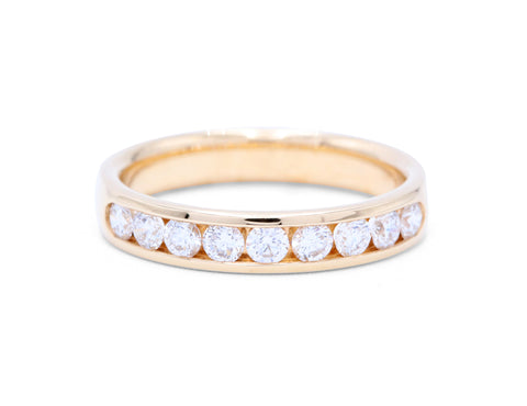 9 Diamonds Yellow Gold Wedding Band - Silverscape Designs
