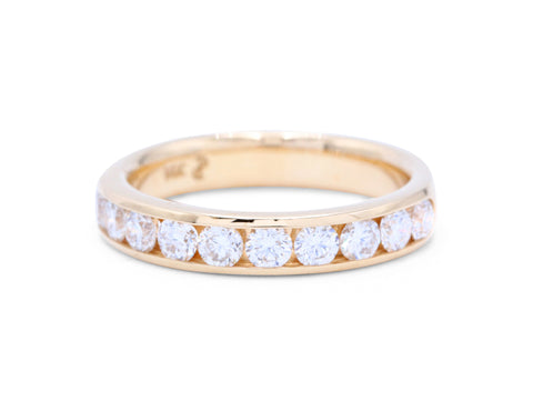 11 Diamond Yellow Gold Wedding Band