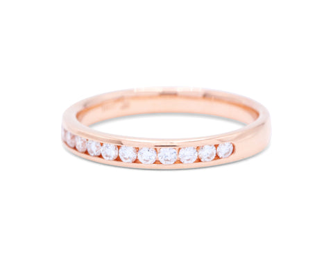 12 Diamond Rose Gold Wedding Band - Silverscape Designs
