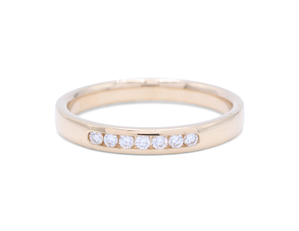 7 Round Cut Diamonds Yellow Gold Wedding Band - Silverscape Designs