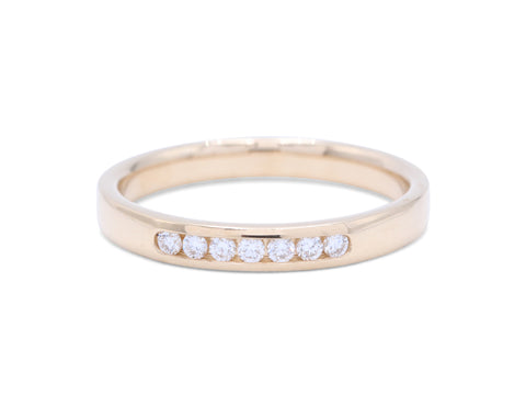 7 Round Cut Diamond's Yellow Gold Wedding Band