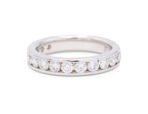 PeJay Collection 14 (1 Carat) Round Cut Diamonds 14k White Gold Wedding Band