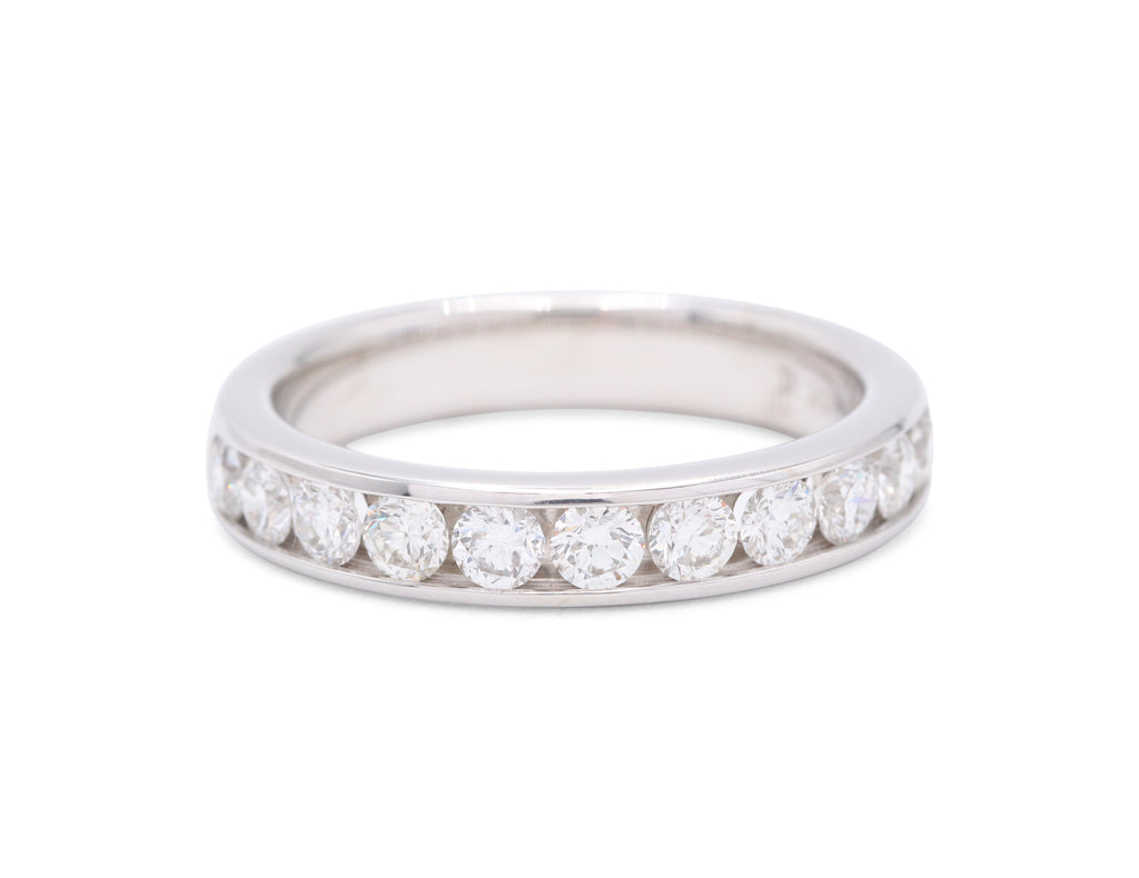 11 Round Cut Diamonds White Gold Wedding Band - Silverscape Designs