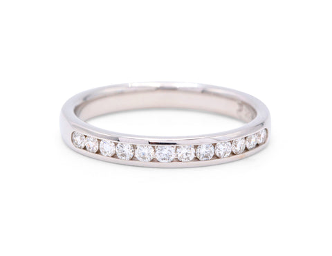 12 Diamond White Gold Wedding Band - Silverscape Designs