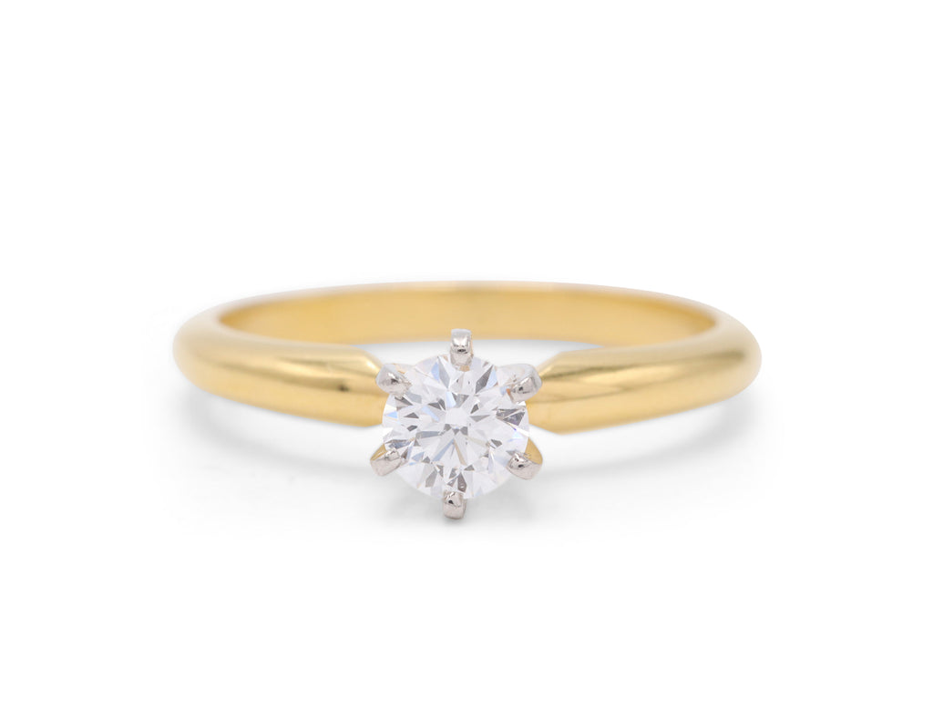 Dennis Perlman Design 18k Yellow Gold band and Platinum Head Two-Toned Engagement Ring