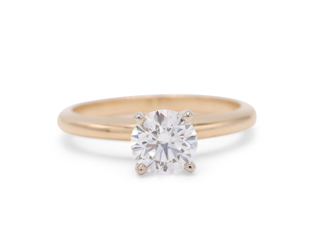 Dennis Perlman Design Two-Toned 14k Yellow Gold with Platinum Solitaire Engagement Ring