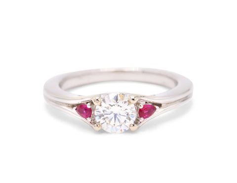 Frederic Sage Diamond Ruby Three Stone 14k White Gold Engagement Ring