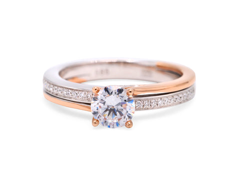 Two Toned Side Diamond Ring