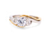 Frederic Sage 14k Yellow and White Gold with .11TCW Side Diamond Elegant Engagement Ring