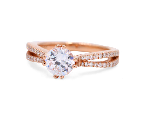 Frederic Sage 14k Rose Gold Split Shank Engagement Ring with 44 Side Diamonds