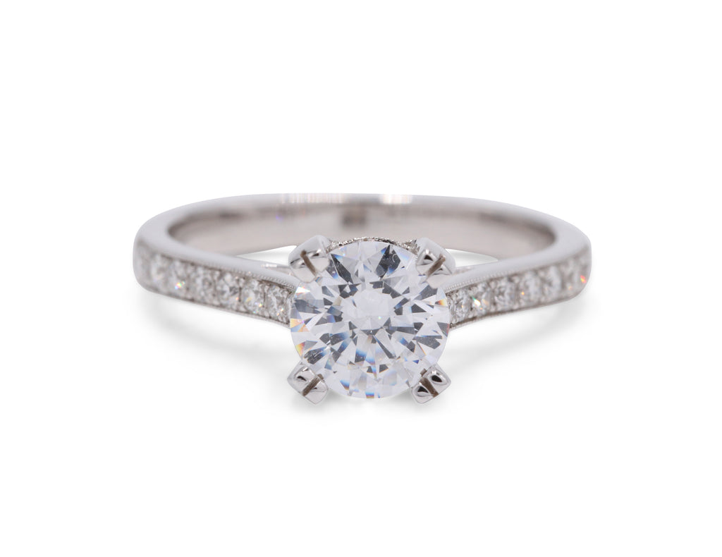 Pave Milgrain Solitaire Engagment Ring